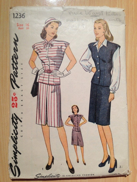 Simplicity 1236 Sewing Pattern 1940s Misses' and Women's Two Piece Dress, Jerkin and Blouse Size 16