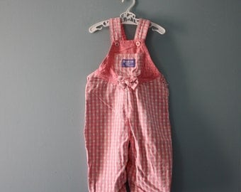 Vintage Oshkosh overalls / pink checkered jean dungarees / Osh Kosh 1980's denim /  baby girl 6 to 9 months