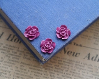10 pcs HEAVY DUTY Enamel Fuchsia Pink Flower Charm 15mm (BT2754)