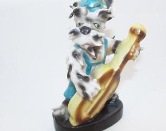 Occupied Japan Schnauzer Dog Figurine Dog Playing Bass Musical Instrument Porcelain China Knick Knack
