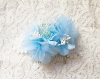 Flower Hair Comb - Something Blue Rustic Bridal Headpiece - Blue Flowers Wedding Hair Accessories Bridal Floral Hair Comb Bridal Comb