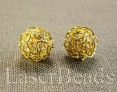 18mm 6pc Gold wire balls wire mesh beads Round gold beads Round wire beads Gold color Metal Jewelry supplies