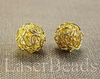 18mm 6pc Gold wire balls wire mesh beads Round gold beads Round wire beads Gold color Metal Jewelry supplies last