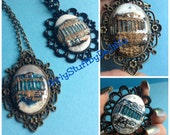 Ancient Greek Design Cameo Pendant Necklace, Handmade Cameo, 30x40 mm, The Parthenon, Acropolis, ancient Greece, egst, made in Greece