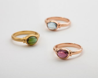 Rhodolite Garnet Ring, Rose gold ring gift for her, oval pink gemstone solitaire ring, rhodolite engagement gold ring, unique ring for her