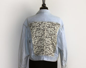 Upcycled Vintage Jean Jacket with Floral Lace Inserts Cut-out Panels Front and Back - Sz L