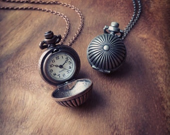 Pocket Watch, Time piece, Antique Copper/ Gunmetal Globe Pocket Watch Necklace