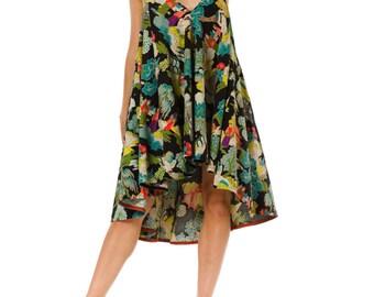 1940s Asian Print Babydoll Halter Dress Size: S/M