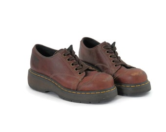 Dr Marten Brown Leather Clunky Oxford Shoes 90s Grunge Fashion Unisex Mens sz 6 Ladies sz 7