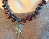 Elephant African Trade Bead NecklaceTribal Red Jasper Tibetan Silver Elephant Good Luck Bells Boho Painted Tube Beads Unique Gift