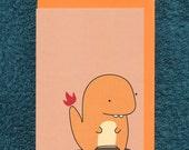 Charmander Pokemon Card Birthday Blank Greeting Child Derpy