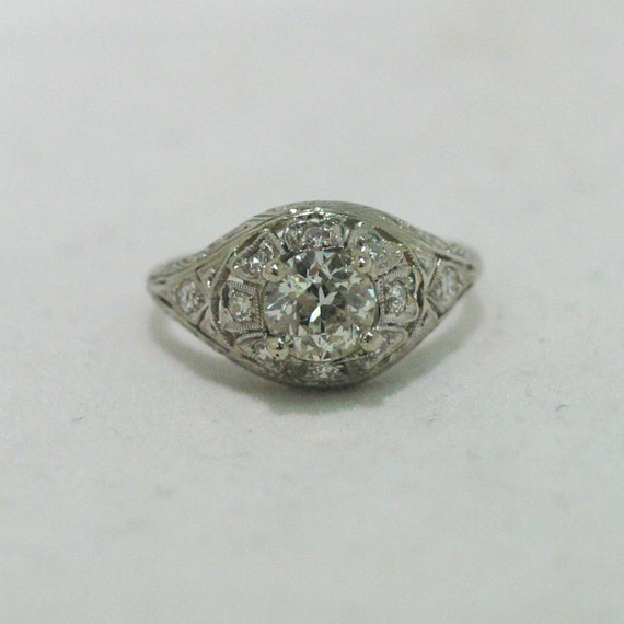 Vintage 1920s Diamond Engagement Ring Platinum Engagement Ring