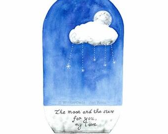 Moon and Stars Print, Blue Nursery Decor, Cloud Moon Stars Wall Art, Celestial Artwork