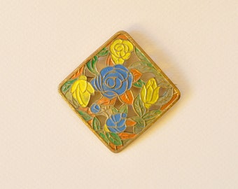 Arts and Craft Square Floral Painted Enamel Pin 1950s Vintage