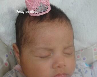 newborn pink crown headband