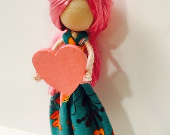 Sweethearts  Doll Series. Wood Doll. Ornament.
