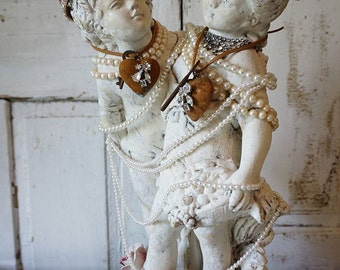 Cherub statue classic putti children playing shabby cottage chic white distressed angel figures ornate crowns home decor anita spero design