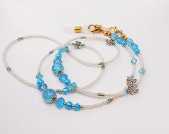 Summer Sale Eyeglass Chain - Aqua Blue Crystal Eyeglass Chains -  Eyeglass Holders - Reader Eyeglass Chain - Beaded Eyeglass Chain - EC02195