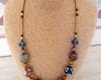 "Polymer clay beaded necklace  ""Morrocan Spice"""