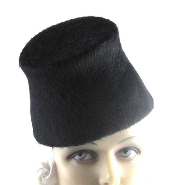 Womens Hat Black Long Hair Fur Felt Handmade Hats Mother of the Bride Church Cloche Derby Ascot Races Art Deco Custom Made for Each Client