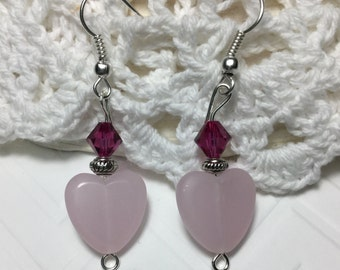 Free Shipping - Connection - Crystal Heart Earrings/Fuchsia Crystal Earrings/Swarovski Crystal Earrings/Heart Crystal Earrings