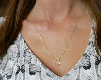 Dainty ring necklace / Karma necklace / Necklace with ring / Minimal necklace in gold or silver / Simple layering necklace / Eternity ring