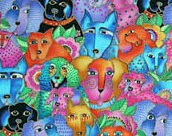 Laurel Burch Canine Dog Fabric by Clothworks Retired Out of Print FQ