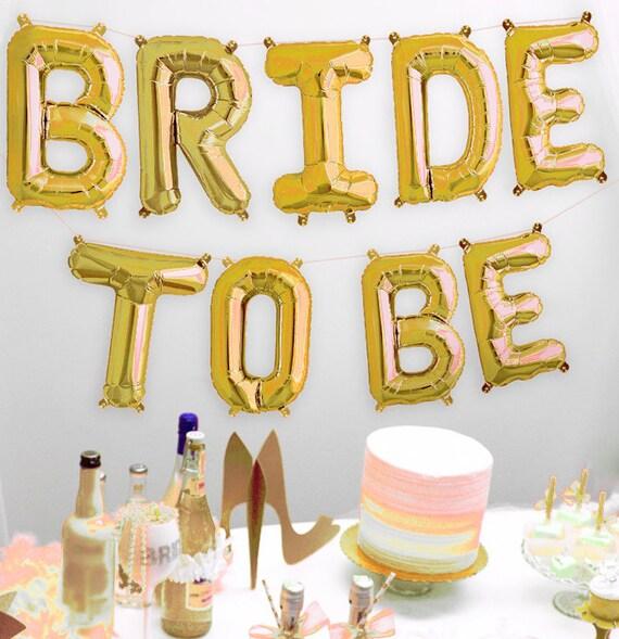Gold Bridal Shower Banner Bride Mylar Letters Balloon Kit