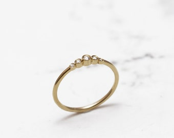 Diamond band, Solid gold , Diamond ring, Yellow gold engagment ring, Delicate wedding band , Solitaire engagement ring,Uniqe diamond ring