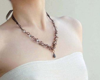 """Copper Necklace """"About yesterday's rain"""", Wire wrap jewelry, crystal and silk"""
