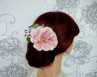 Pink bridal hairpiece, Spring floral adornment, Pink wedding accessories, Romantic headpiece, Pink wedding, Flower fascinator