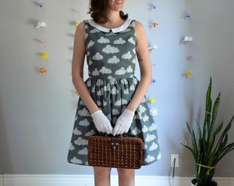 White & Grey Geometric Cloud Print Dress / Head in the Clouds Dress