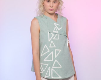 Mint Green Cotton Sailboat Race Printed Wrap Top