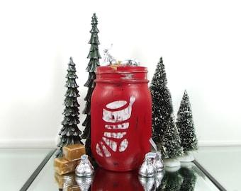 Red Mason Jar, Christmas Gift Hostess, Christmas Table Decor, Country Home Decor, Candy Jar, Rustic Christmas Decor, Colored Mason Jar