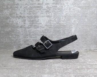 Vtg 90s Black Suede Slingback Buckle Cage Flat Sandals 9.5