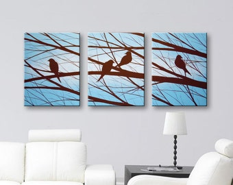 Love Birds Painting Wall Art Canvas Art Bird Paintings Home Decor Wall Decor blue Art and brown 54x24 Original Painting HAND PAINTED