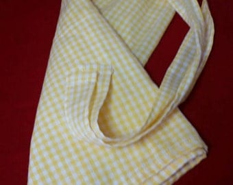 "Handmade YELLOW Checkered Gingham HALF Apron Springtime SPRING Kitchen Cooking Two Pockets 15"" Length"