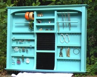 Jewelry Organizer Display Extra Large Mid Century Cottage Chic Turquoise Dream Handmade