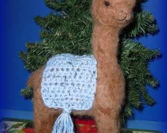 """Alpaca Needle felted 9 1/2"""" with Blue Alpaca Knitted Blanket"""