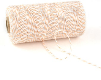 Peach Bakers Twine - 240 yard spool - 100% Cotton - Peach and White stripe Divine Twine Made in the USA - Biodegradeable
