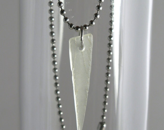 Surfer Style Unisex Bonfire Crazed White Sea Glass on a Silver Ball Chain or a Stainless Steel Ball Chain Necklace
