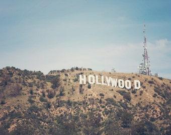 Hollywood Sign Photography, Los Angeles Photograph, Bohemian Wall Art, California Decor, Vintage print, Poster Size, travel print, 30 x 45