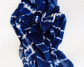 Indigo Scarf, Shibori Scarf, Blue cotton Scarf, Hand Dyed Scarf, Cotton Scar gift