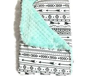 ANNIVERSARY SALE • Adult Blanket • Throw Twin Bed Blanket • Tribal • Arrow • Modern • Teal Cuddle • Gift • BizyBelle