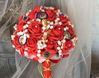 Beauty and The Beast Wedding-Flower Bouquet-Bridal Flowers-Disney Wedding-Red&White-Brides Flowers-Disney-Brooch Bouquet-Destination Wedding