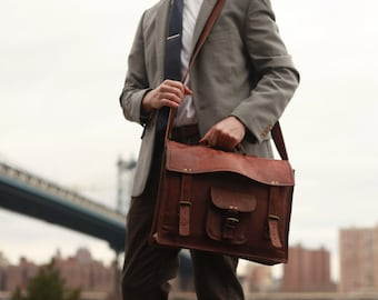 Mens Leather Messenger Bag - Madison
