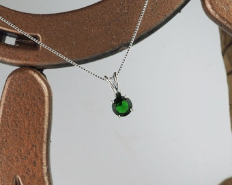 Sterling Silver Pendant/Necklace - Green Topaz Pendant/Necklace - Sterling Silver Setting with a 6mm Green Topaz Solitaire