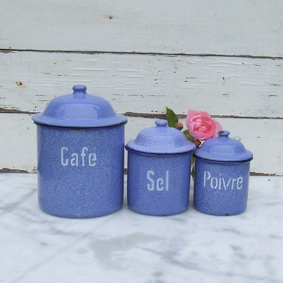 French Kitchen Canisters: Vintage French Enamelware Kitchen Canister Set French Country