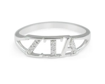 Zeta Tau Alpha (ZTA) Sterling Silver Ring simulated diamonds // ZTA Sorority Jewelry // ZTA rings // Sorority Gifts // Gifts for Her // Ring