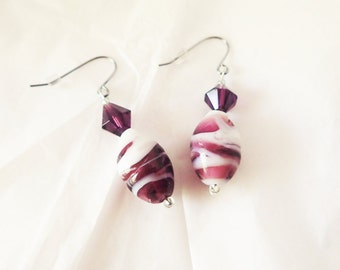 Purple & Plum Striped Candy Earrings